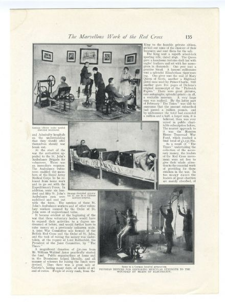 1915 WW1 Print MEDICAL German Wounded Officers Electrical Treatment Muscles 135